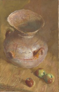 Still life with jug and apples