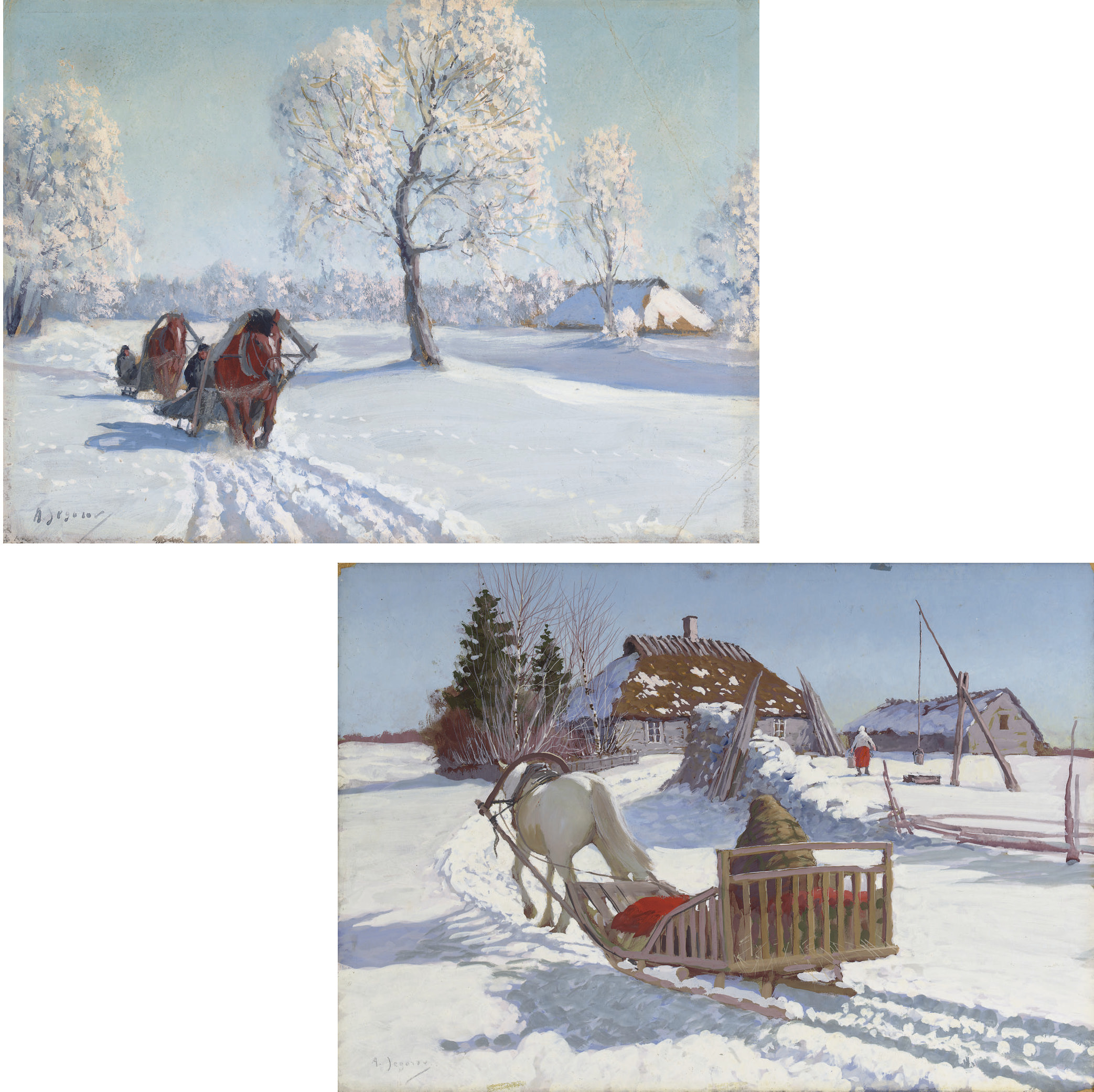 A sleigh returning to a farmstead; and Two sleighs on a winter track