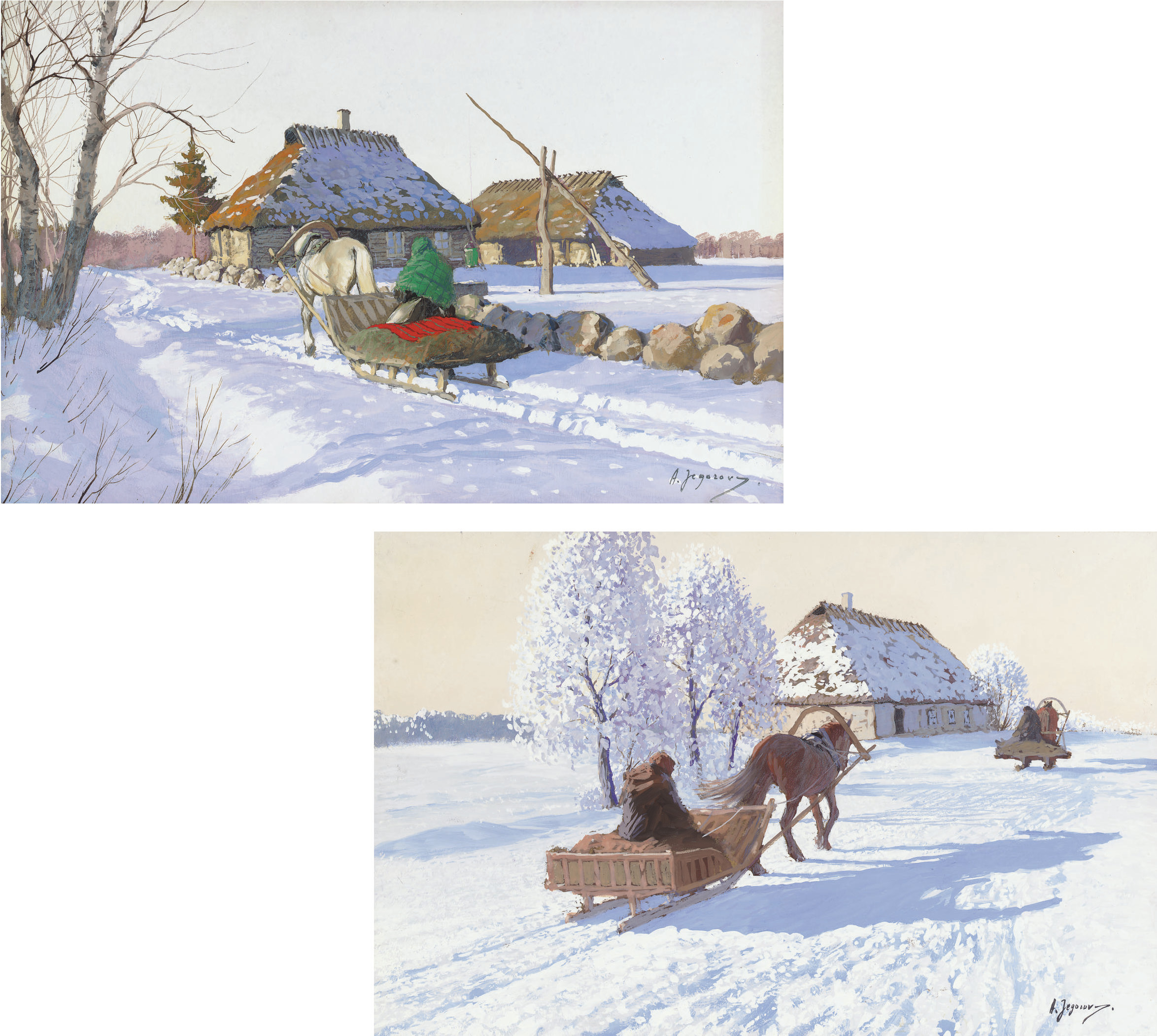 A sleigh returning to a farmstead; and Two sleighs before a barn