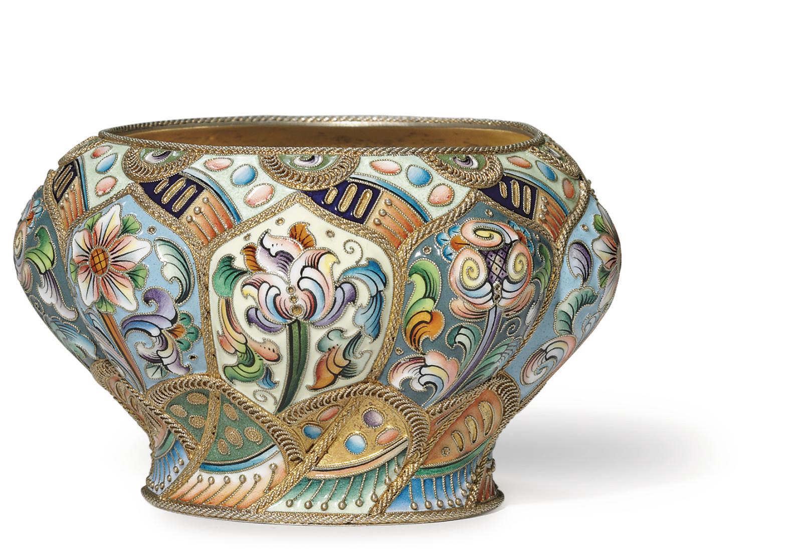 A Silver-Gilt and Cloisonné Enamel Bowl