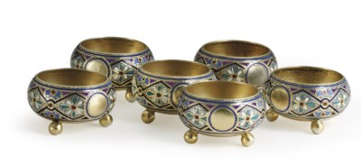 A Set of Six Silver-Gilt and C