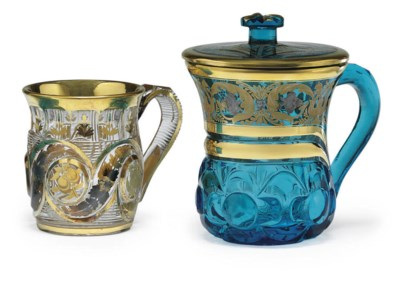 Two Gilt-Decorated Glass Mugs