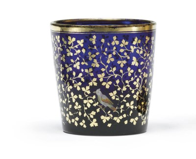 A Gilt-Decorated Blue Glass Be