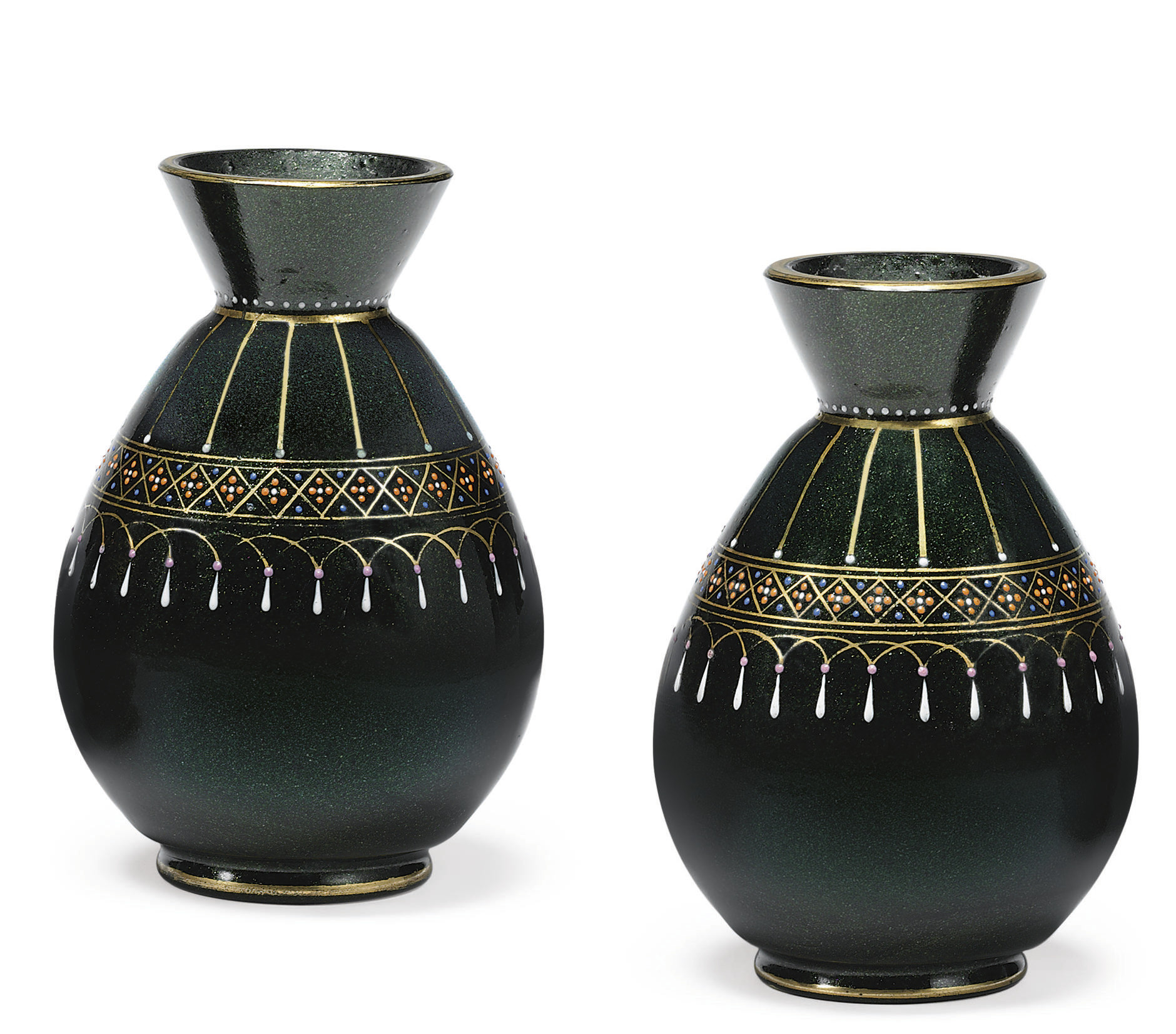 A Pair of Colored Glass Vases