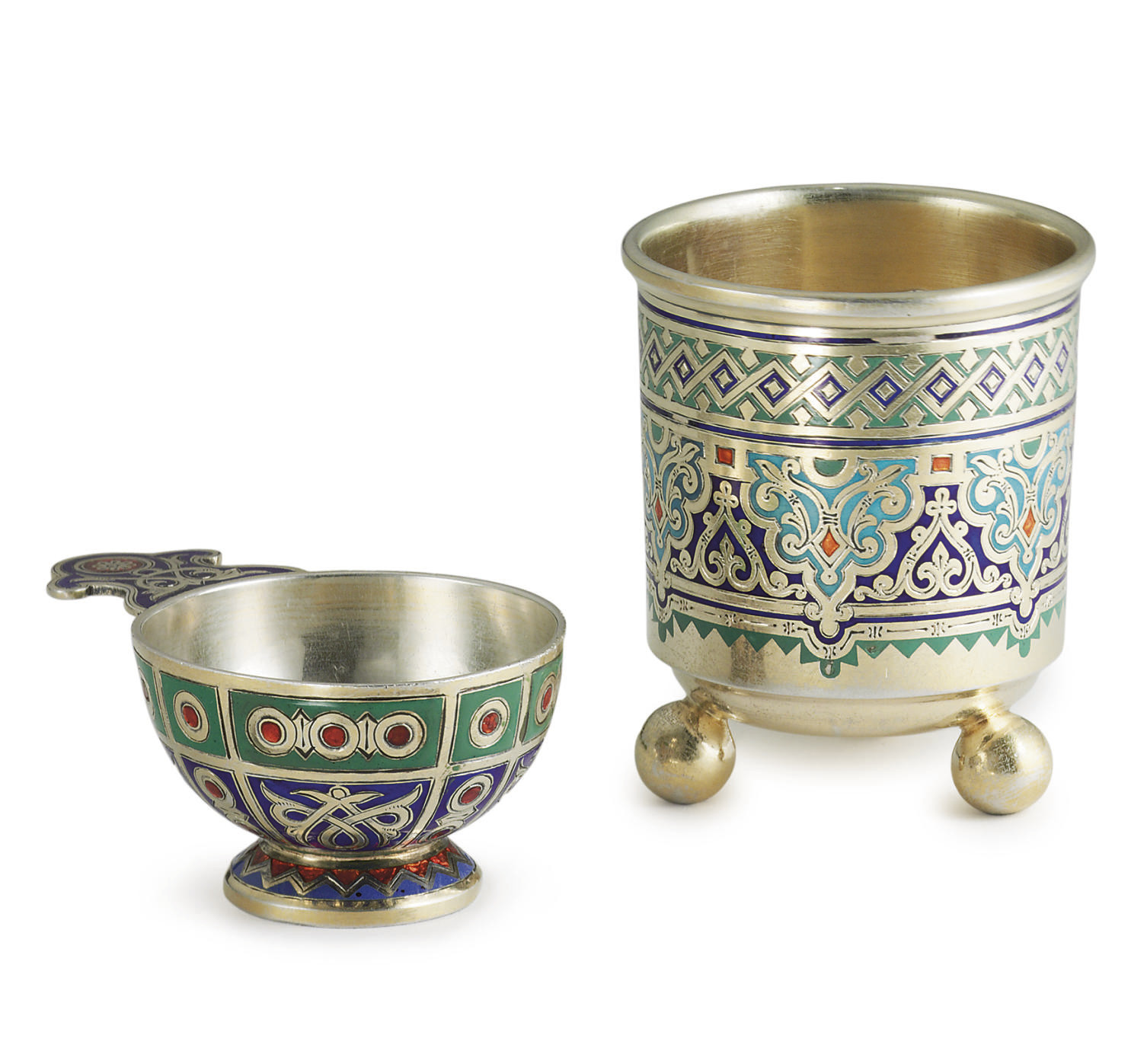 A Silver-Gilt and Champlevé En