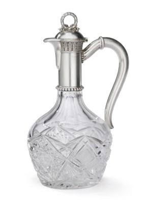 A Silver-Mounted Cut Glass Jug