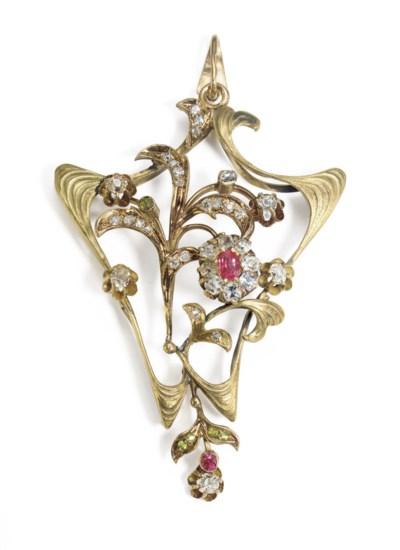 A Jeweled Gold Brooch