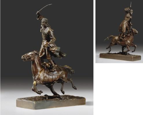 A Bronze Figure of a Cossack W