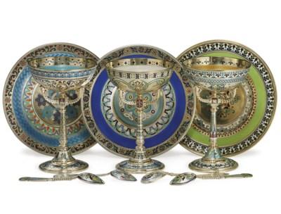 Three Silver-Gilt Plique-à-Jou