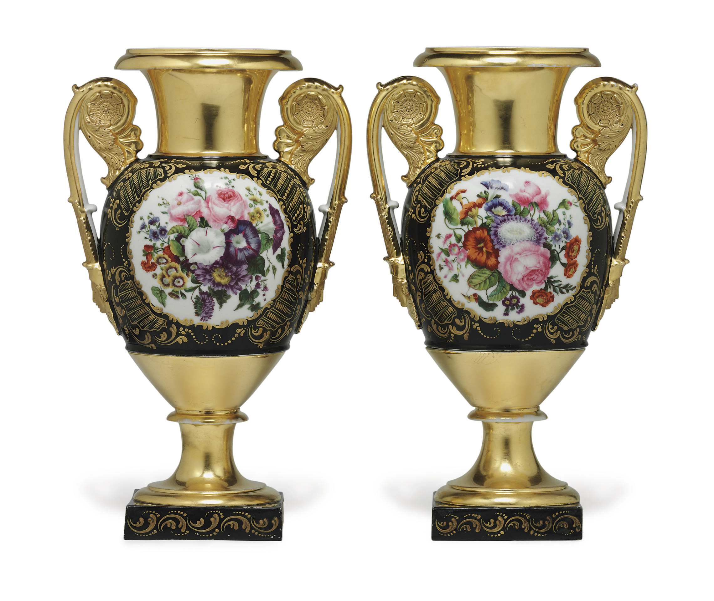 A Pair of Porcelain Two-Handle