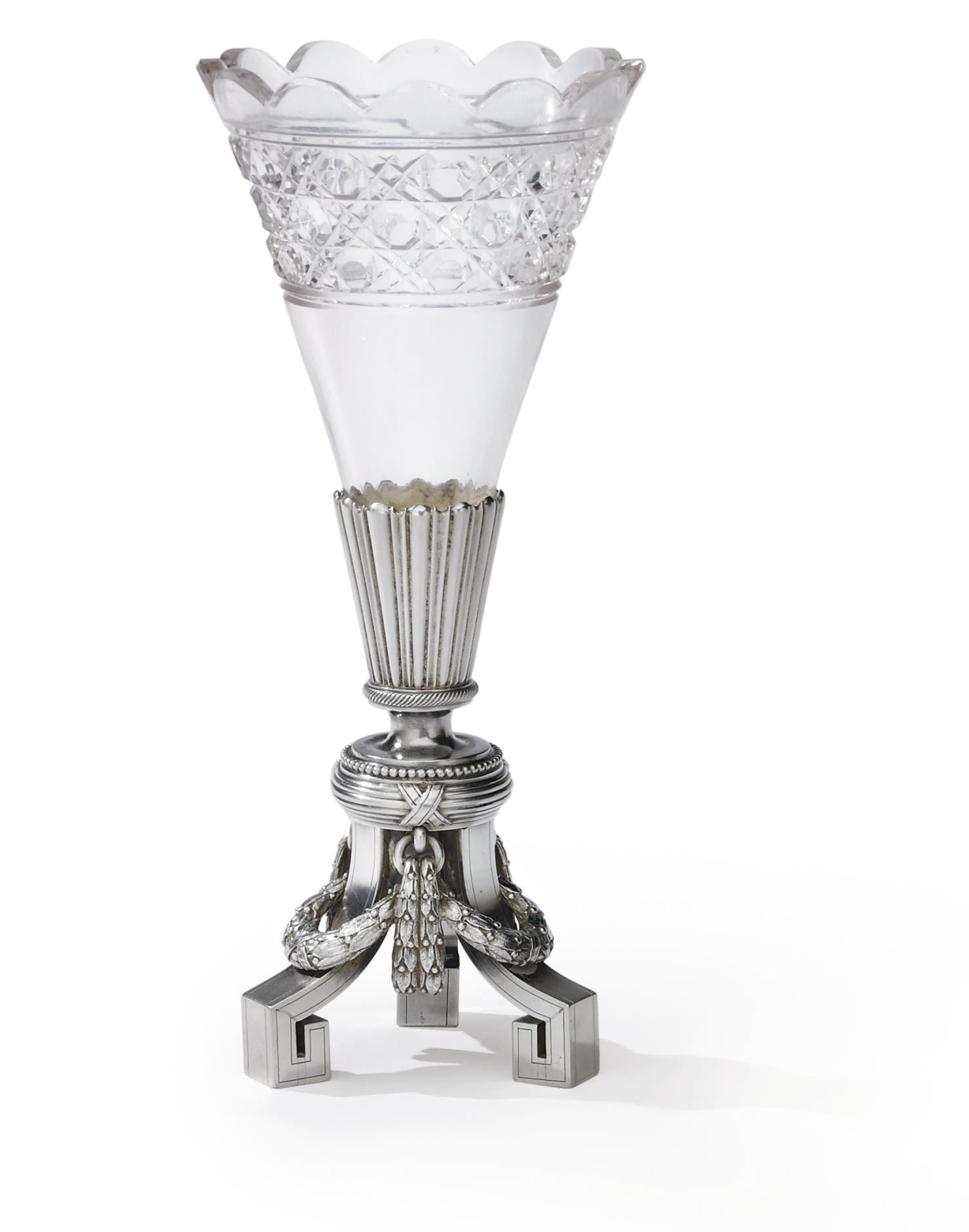 A Silver Mounted Cut-Glass Vas