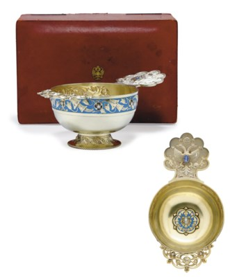 A Jeweled Silver-Gilt and Enam