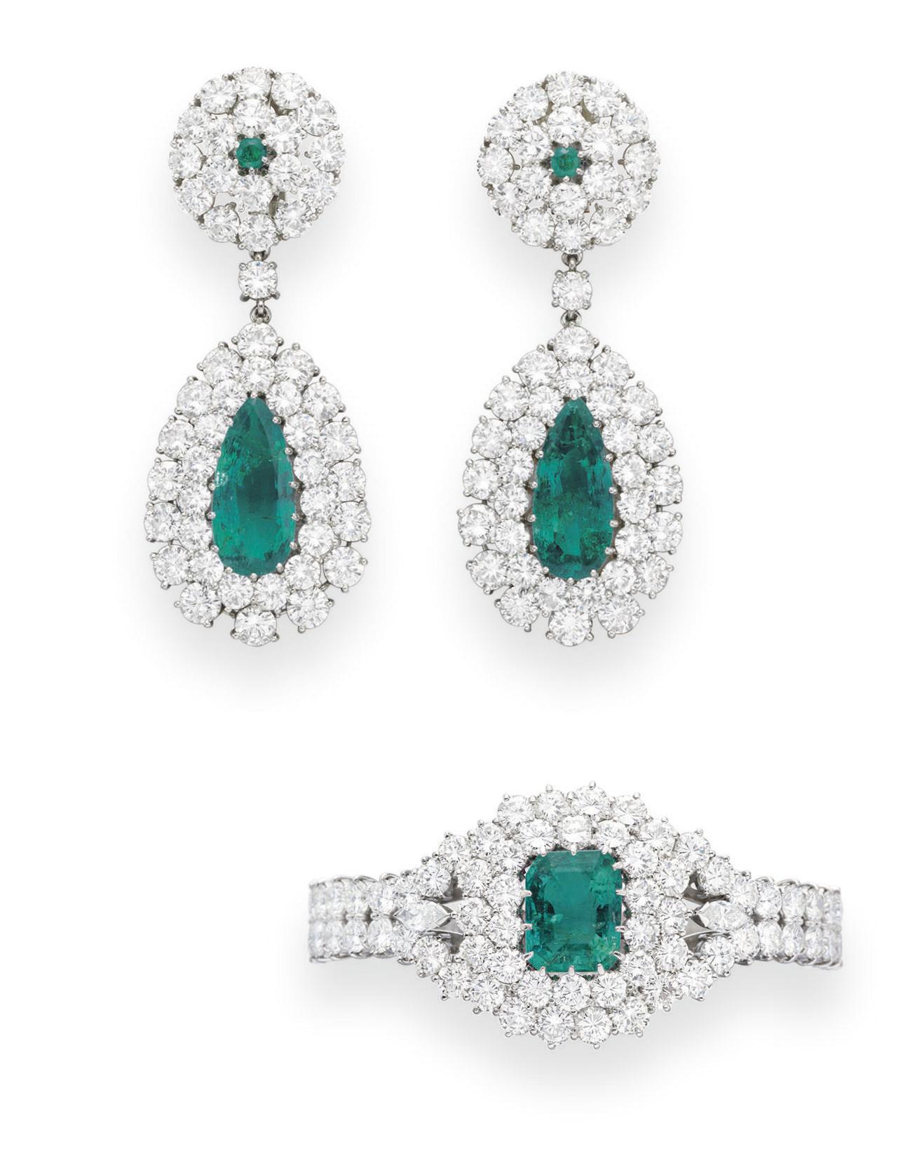 A SET OF EMERALD AND DIAMOND J