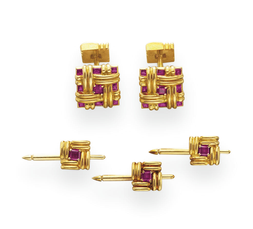 A RUBY AND GOLD DRESS-SET, BY