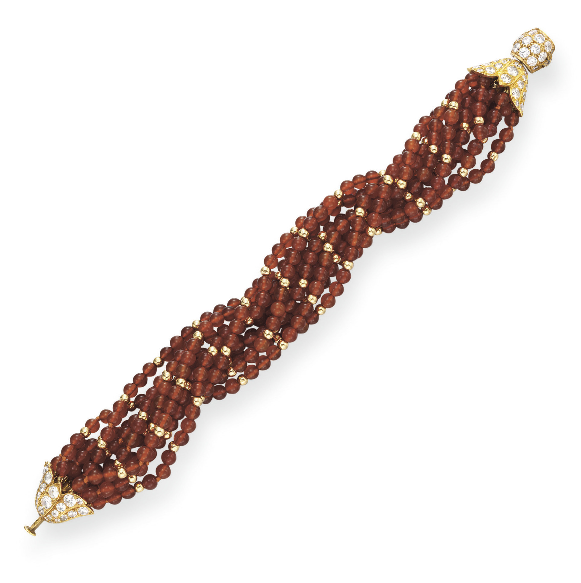 A CARNELIAN BEAD AND DIAMOND B
