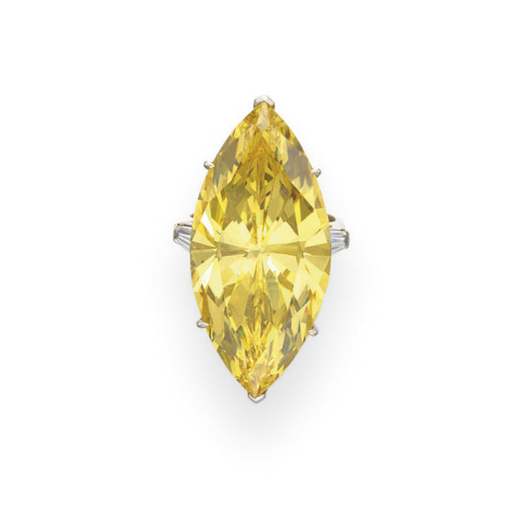 A SIMULATED COLORED DIAMOND RI