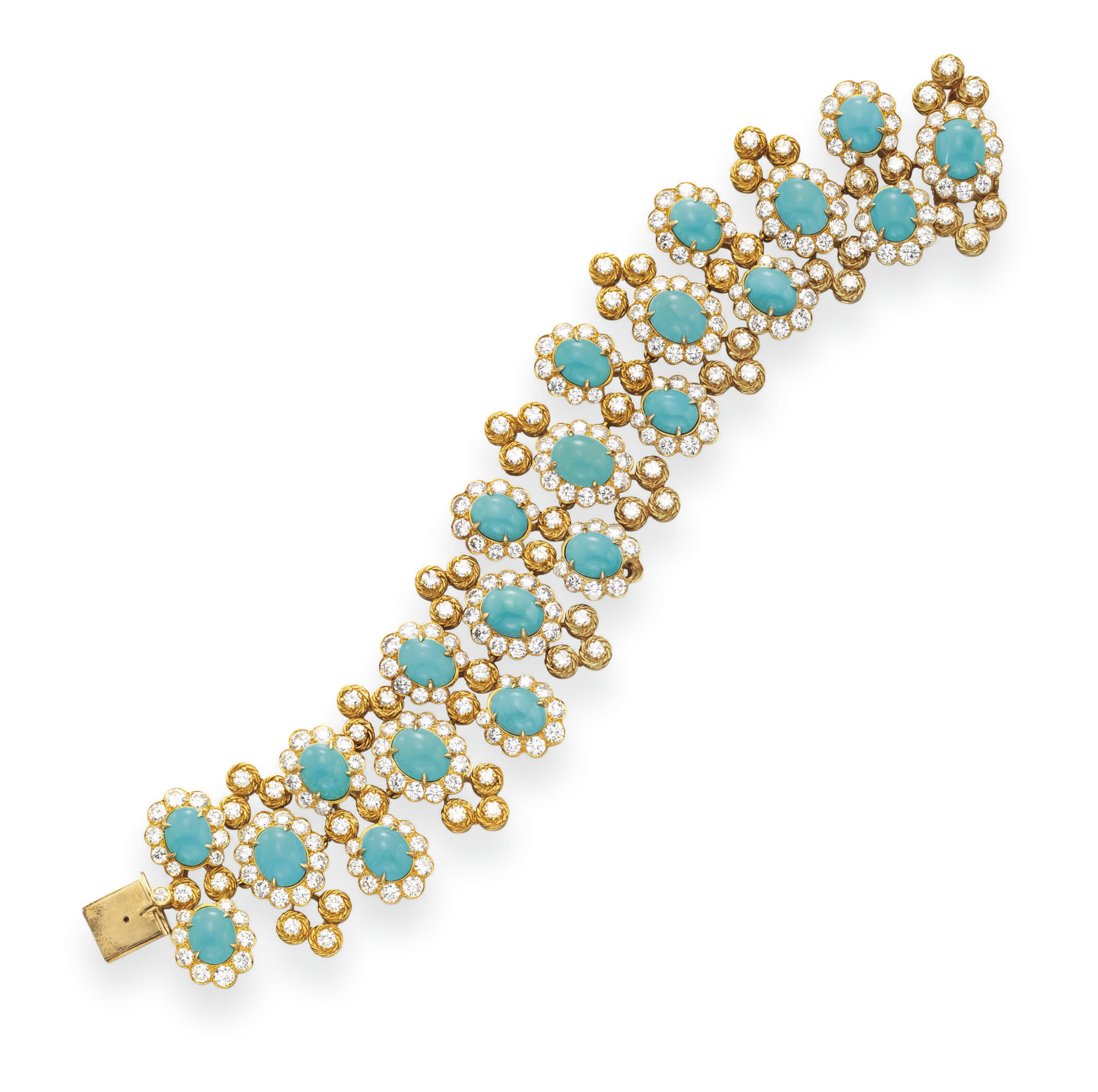A TURQUOISE AND DIAMOND BRACEL