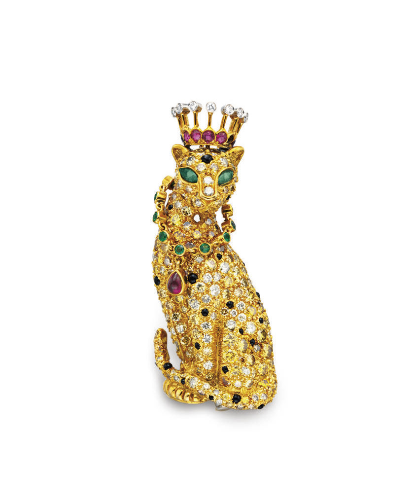 A MULTI-GEM AND COLORED DIAMOND BROOCH, BY VERDURA