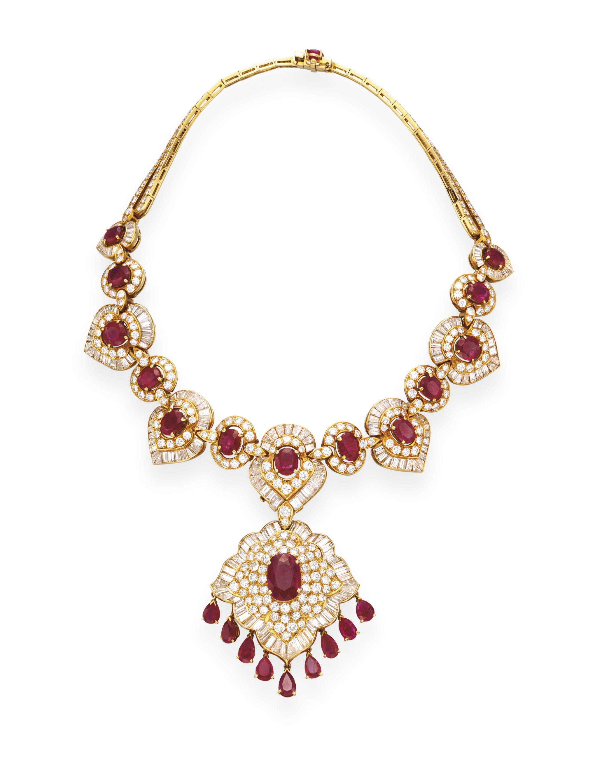 A RUBY AND DIAMOND NECKLACE, B