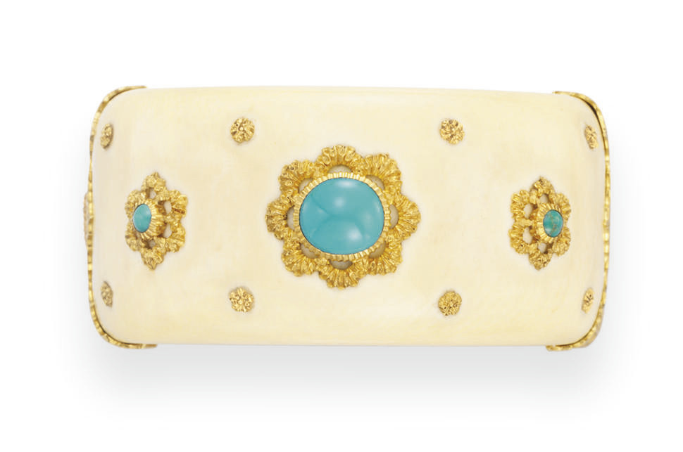 **AN IVORY, TURQUOISE AND GOLD