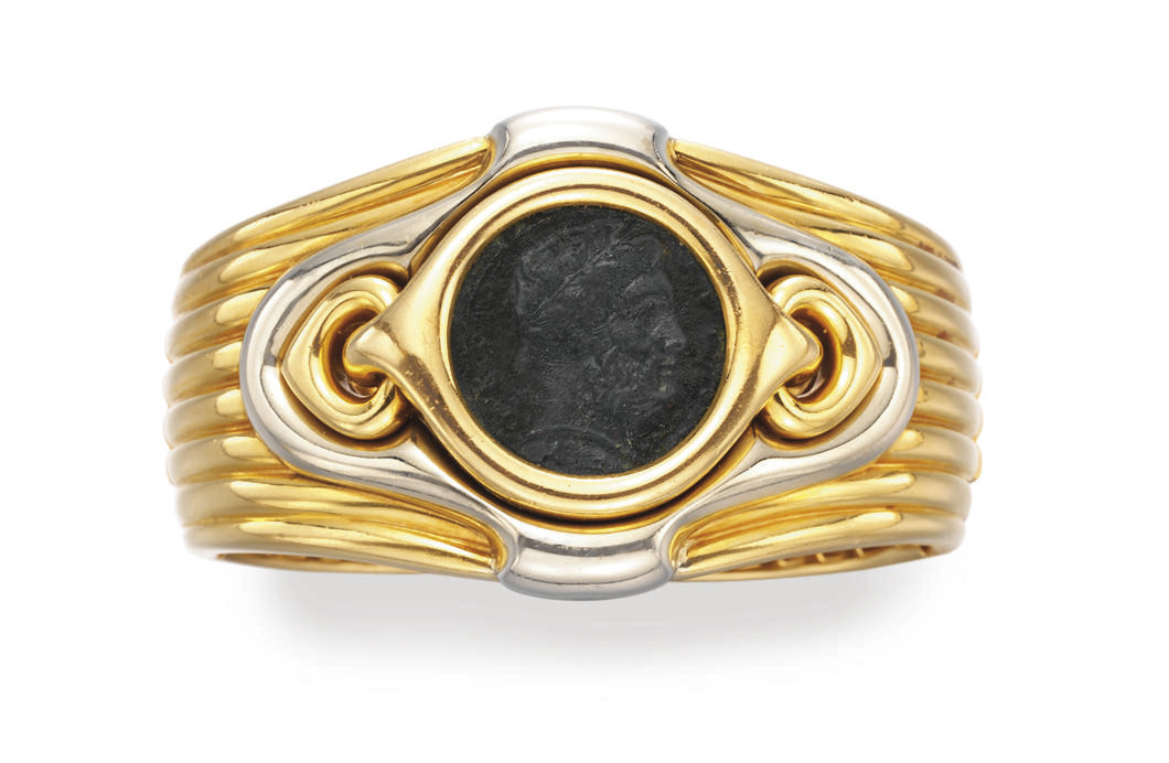 A COIN AND GOLD BRACELET, BY B