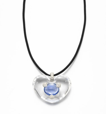 A ROCK CRYSTAL, SAPPHIRE AND D