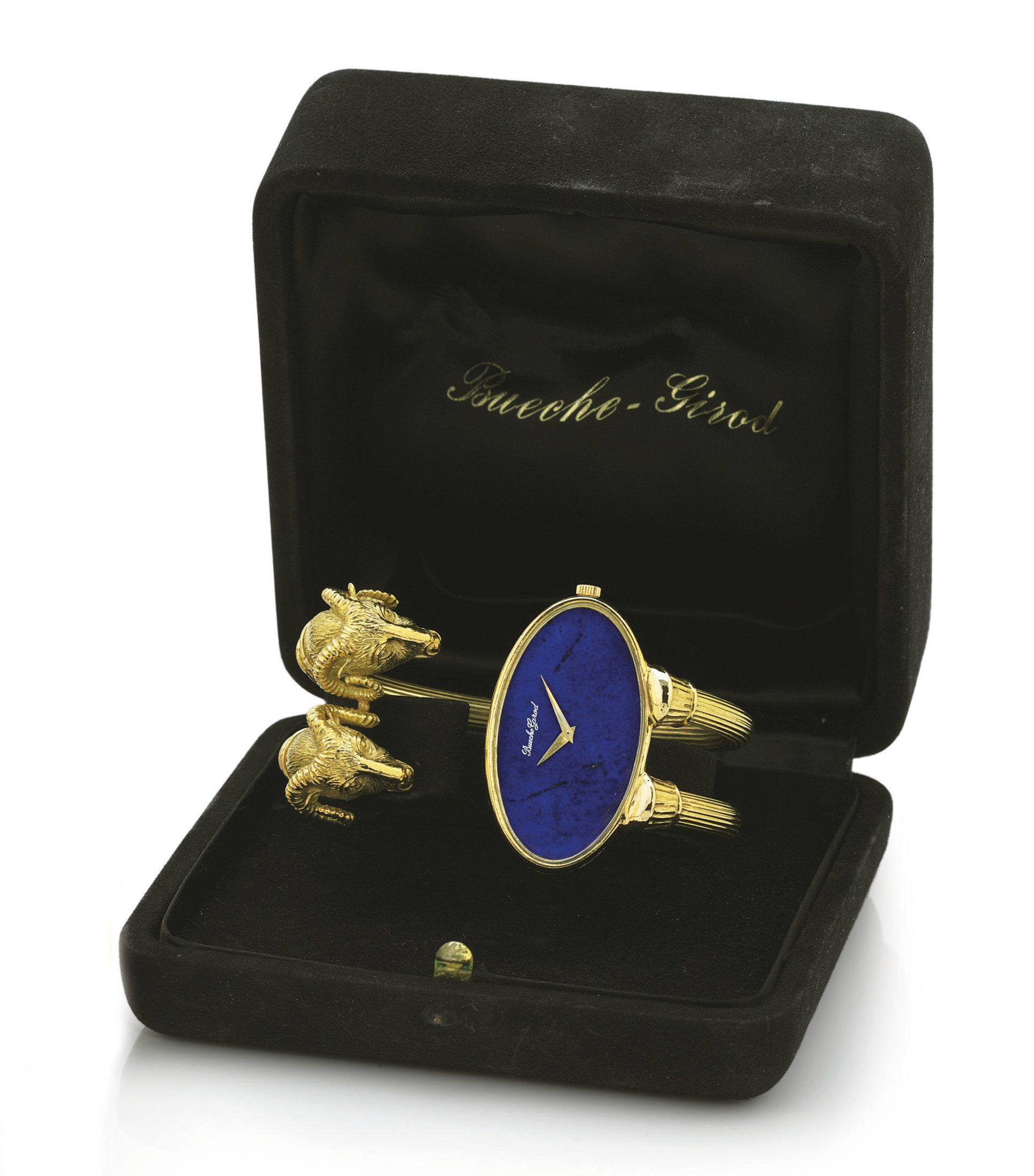 BUECHE GIROD. A FINE AND RARE 18K GOLD AND LAPIS LAZULI OVAL BANGLE BRACELET WATCH
