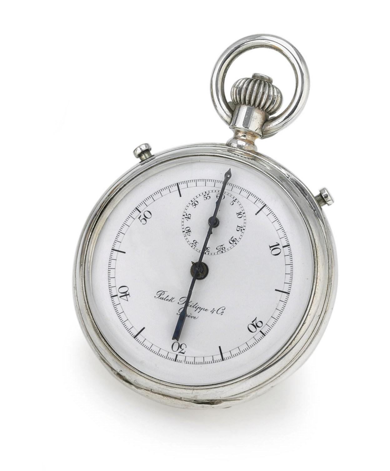 PATEK PHILIPPE. A FINE SILVER OPENFACE INKING CHRONOGRAPH