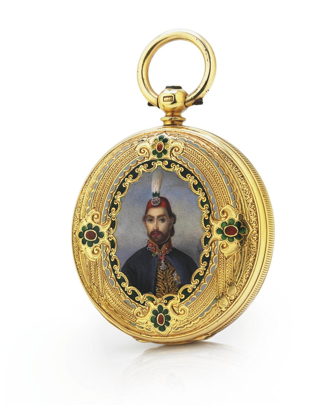 FRENCH.  AN 18K GOLD AND ENAMEL HUNTER CASE KEYWIND POCKET CHRONOMETER