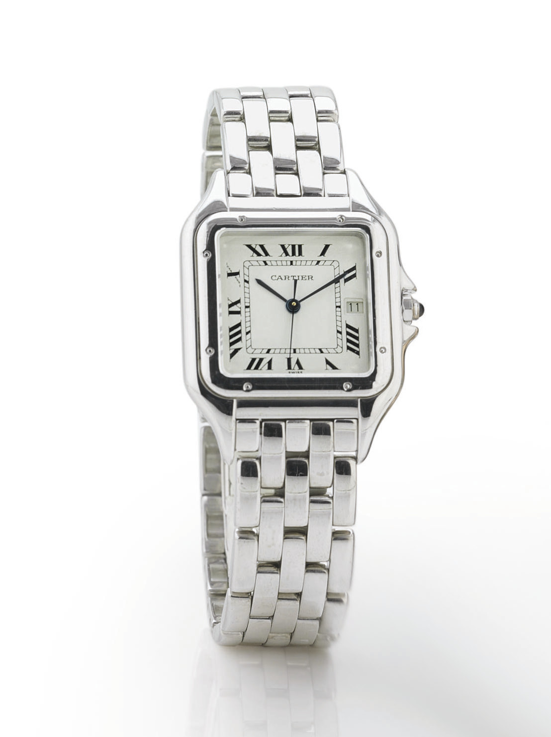 CARTIER. AN 18K WHITE GOLD SQU