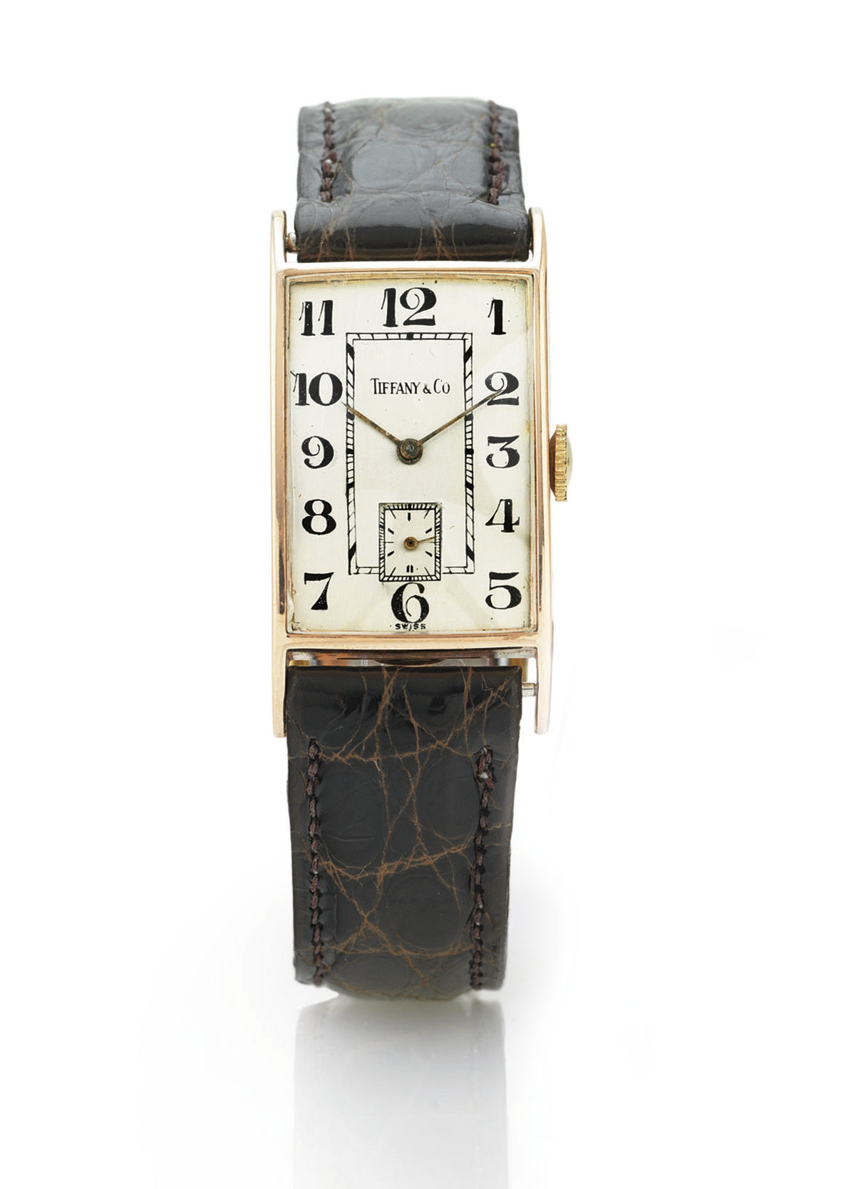 CONCORD.  A 14K PINK GOLD RECTANGULAR WRISTWATCH