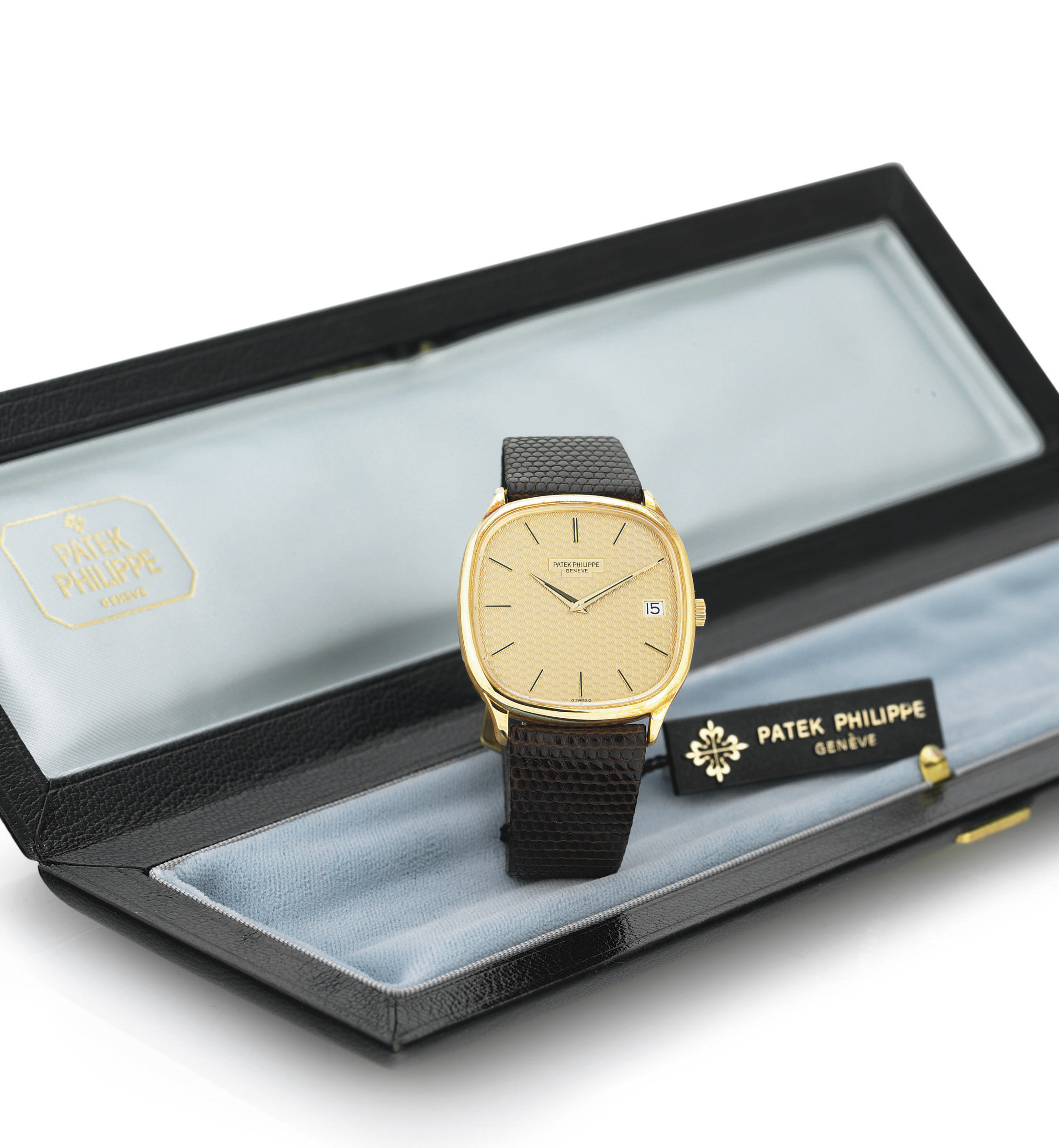 PATEK PHILIPPE. A FINE AND RARE 18K PINK GOLD CUSHION AUTOMATIC WRISTWATCH WITH DATE
