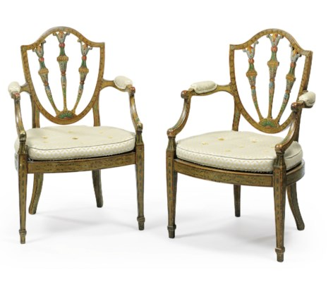 A PAIR OF GEORGE III POLYCHROM