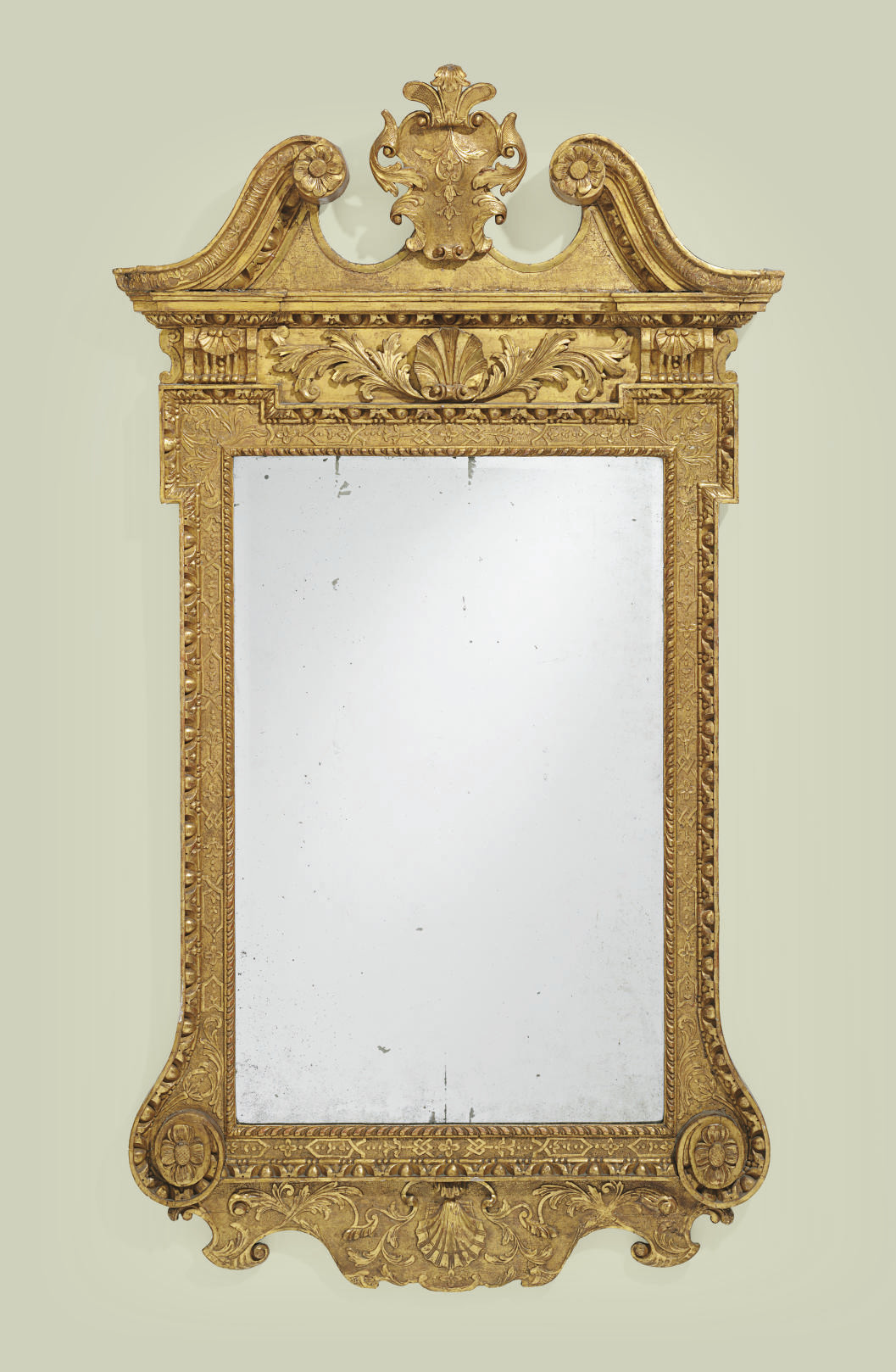 A GEORGE II GILT-GESSO MIRROR