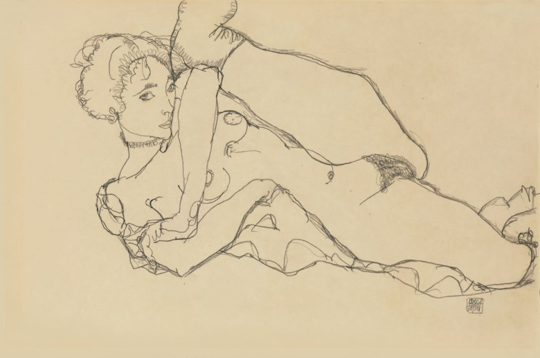 Egon Schiele (1890-1918), Liegender Akt mit angezogenem linken Bein, drawn in 1914. 12½ x 18⅞  in (31.8 x 48  cm). Sold for $1,777,000 on 6 May 2008 at Christie's in New York
