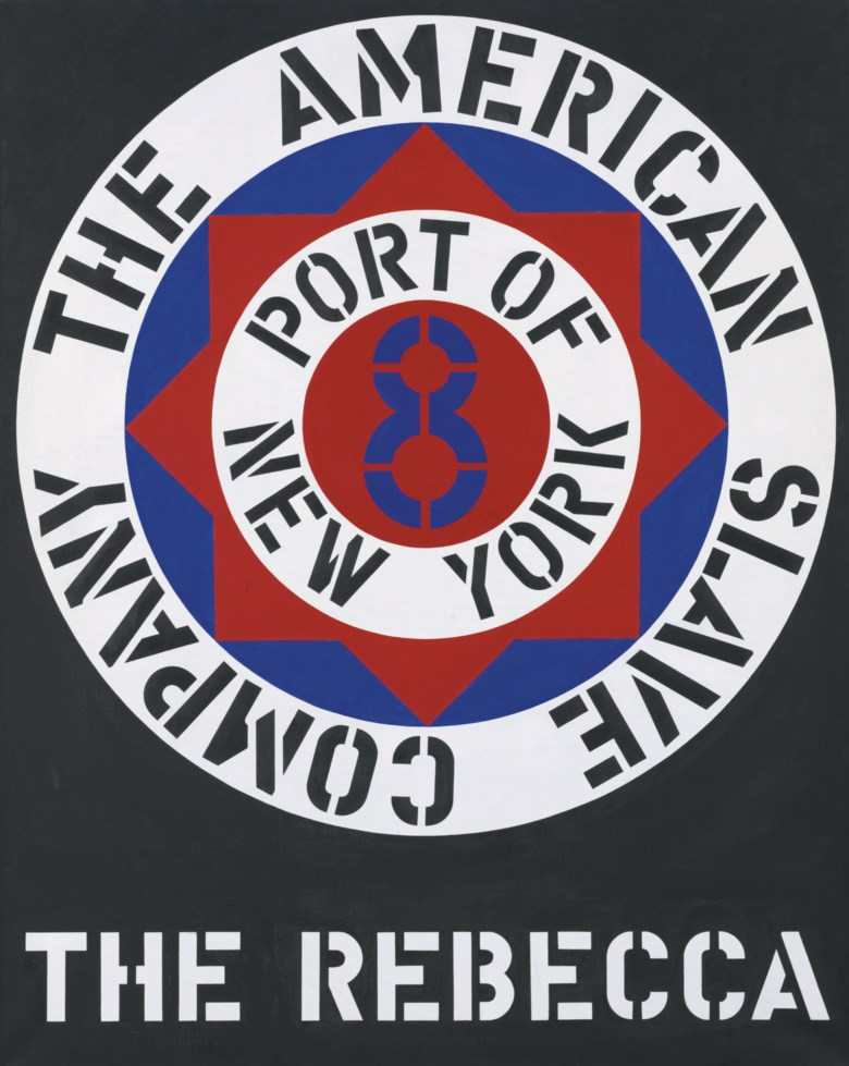 Robert Indiana (b. 1928), The Rebecca, painted in 1962. Oil on canvas. 60 x 48  in (152.4 x 121.9  cm). Sold for $1,049,000 on 14 May 2008 at Christie's in New York