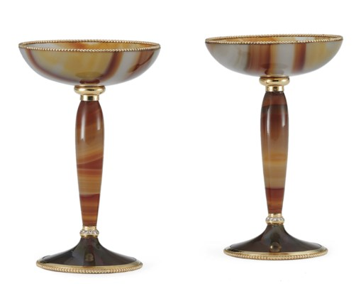 A PAIR OF FRENCH GEM-SET GOLD-