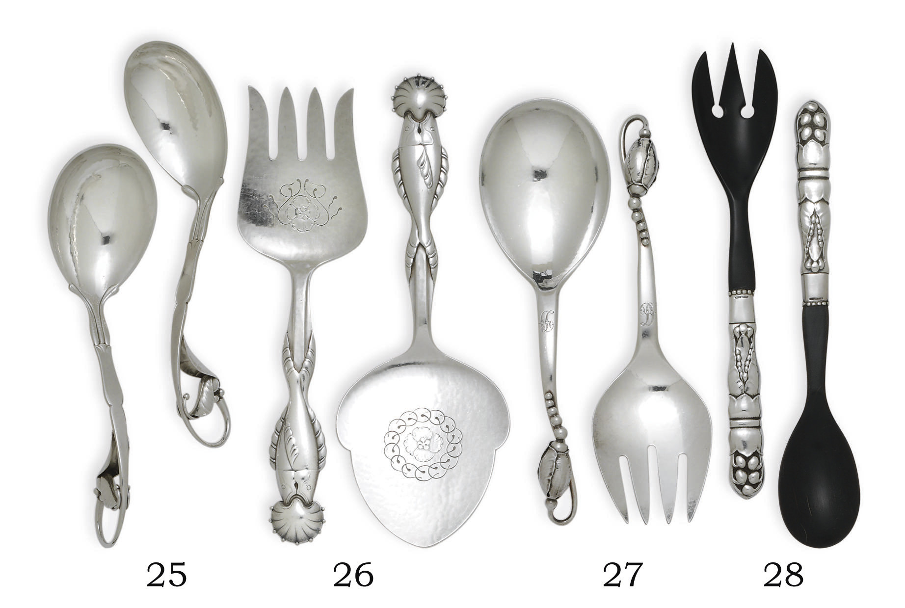 A GROUP OF DANISH SILVER SERVI