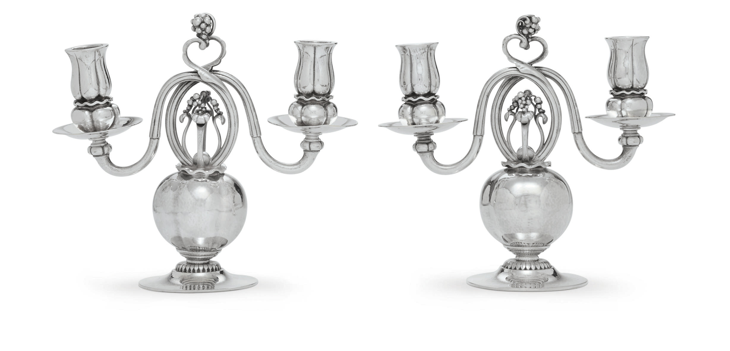 A PAIR OF DANISH SILVER TWO-LI
