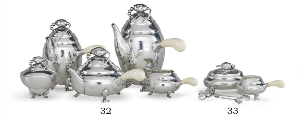 A DANISH SILVER FIVE-PIECE TEA