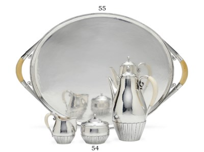 A DANISH SILVER TEA TRAY DESIG