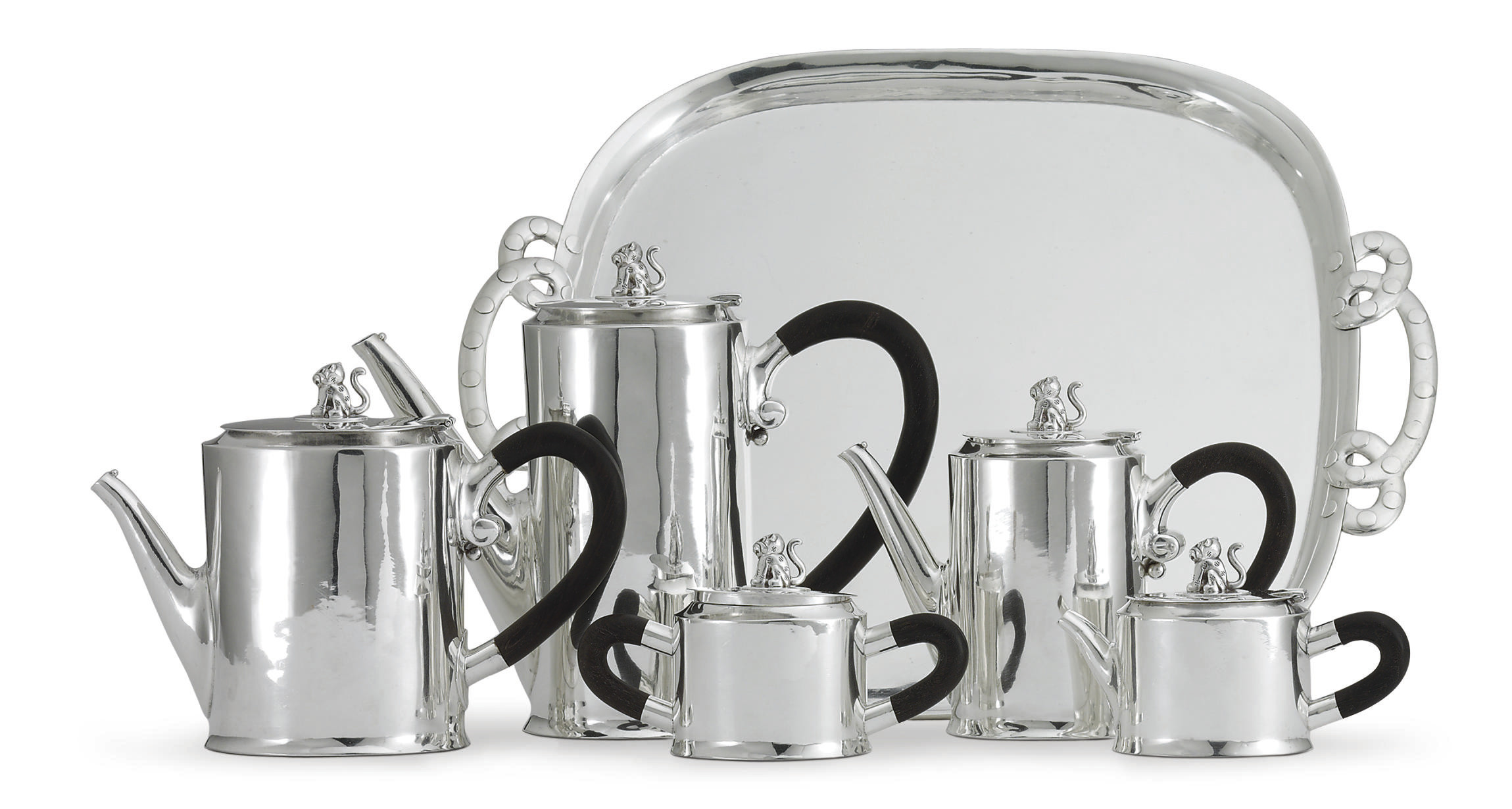 A MEXICAN SILVER FIVE-PIECE TEA AND COFFEE SERVICE WITH TRAY
