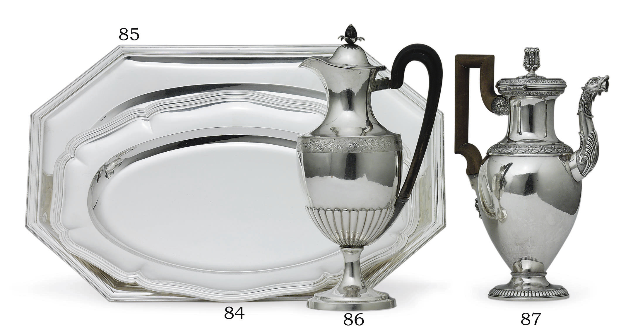 A SWISS SILVER COFFEE POT