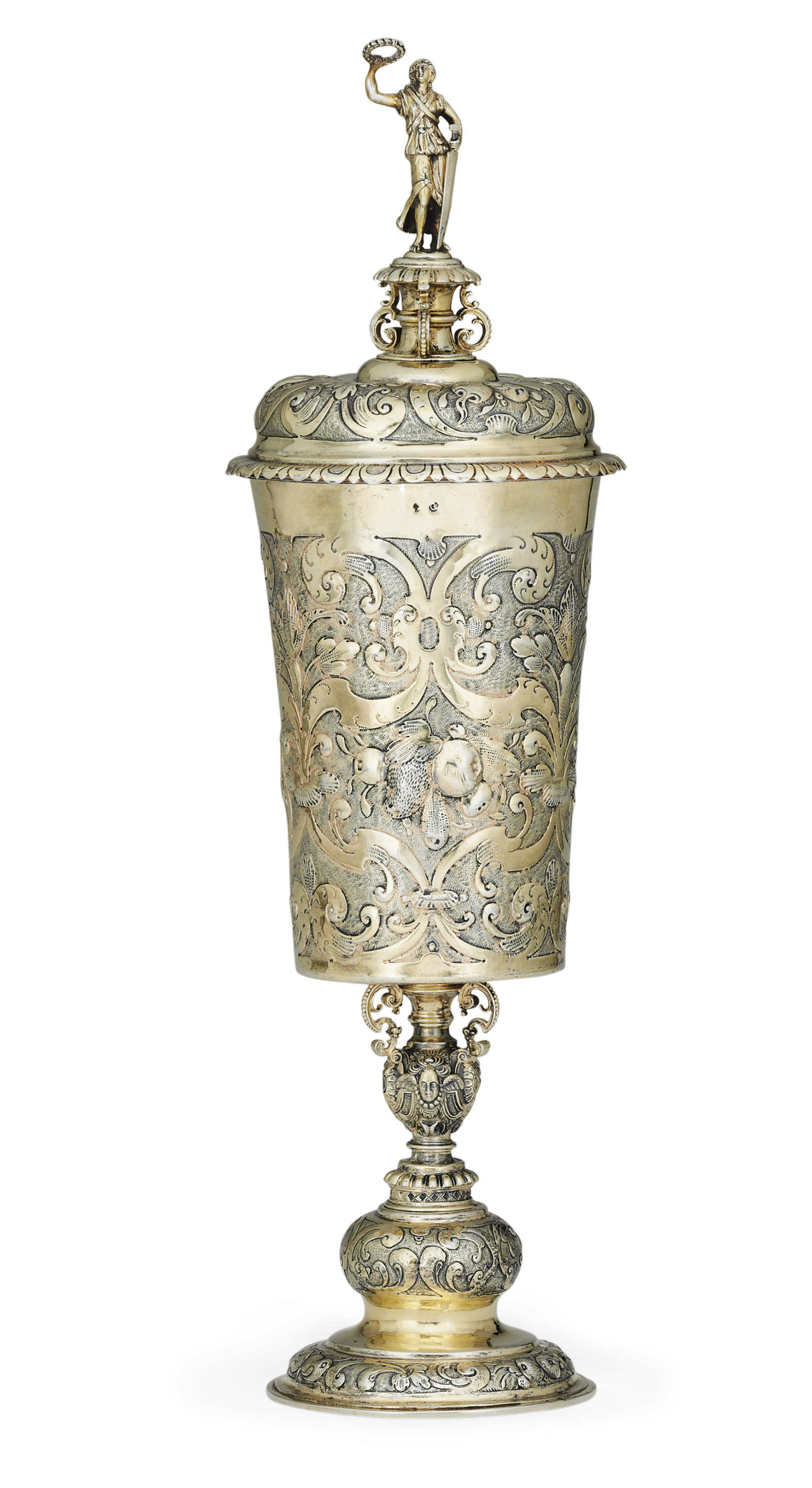 A FINE GERMAN SILVER-GILT STANDING CUP AND COVER