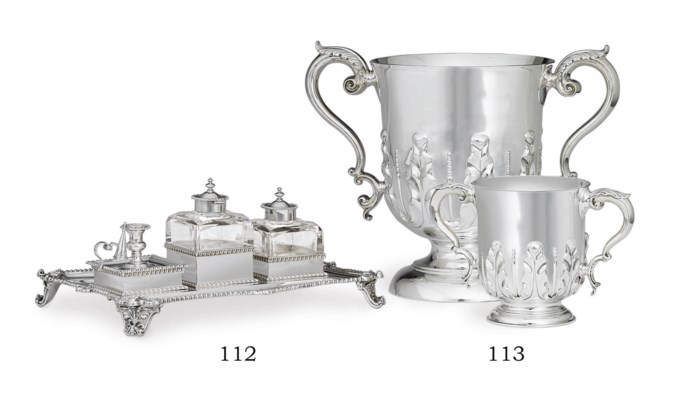 A LARGE VICTORIAN SILVER INKST
