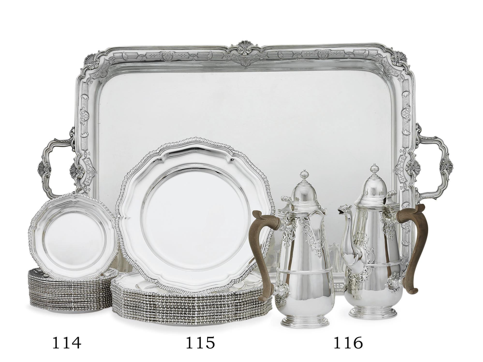 A SET OF TWELVE ELIZABETH II SILVER DINNER PLATES AND EIGHTEEN BREAD PLATES