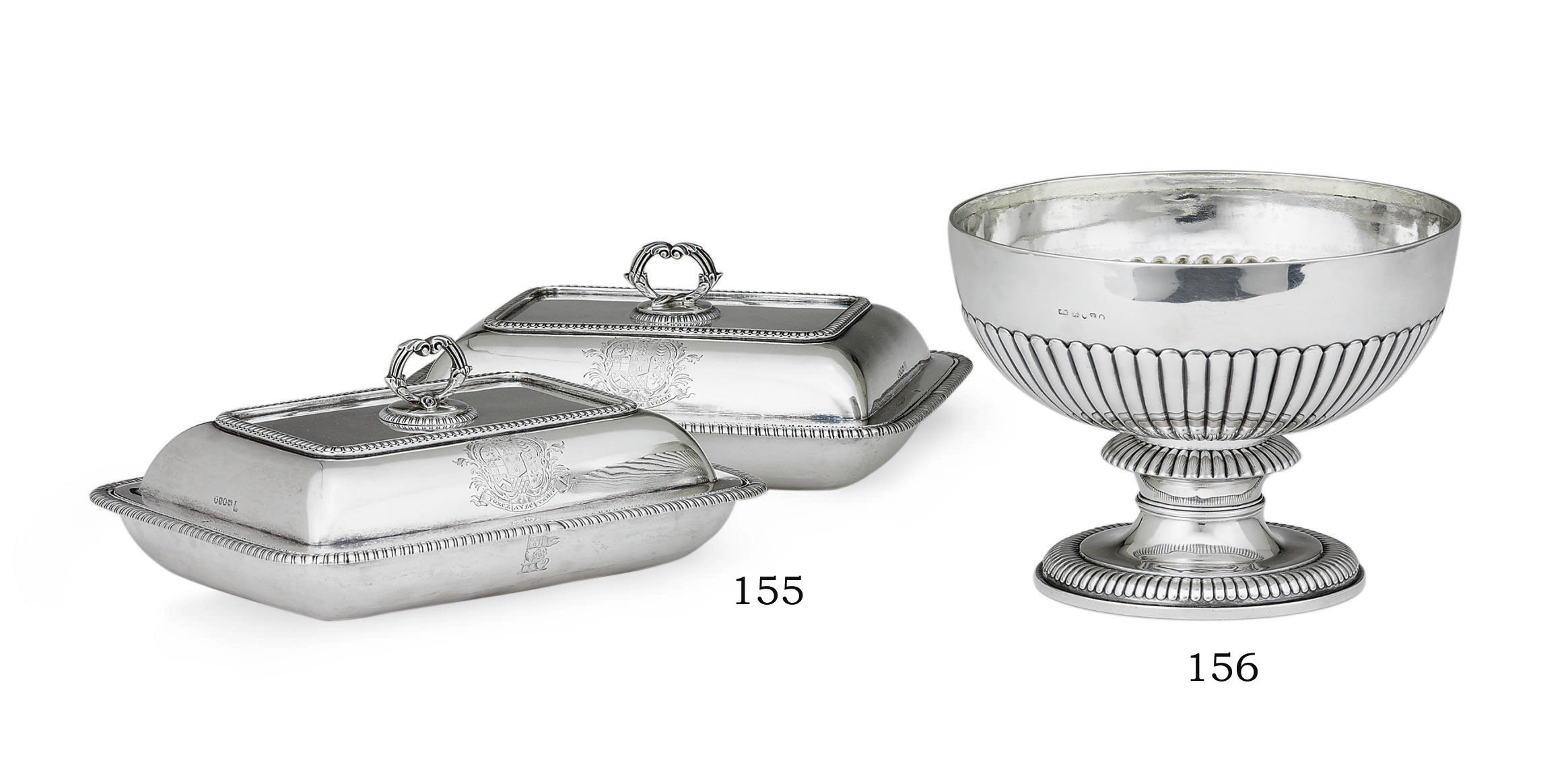 A PAIR OF GEORGE III SILVER ENTREE DISHES AND COVERS