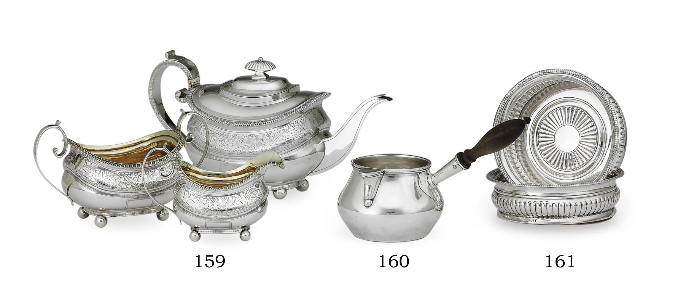 A REGENCY SILVER THREE-PIECE TEA SERVICE**