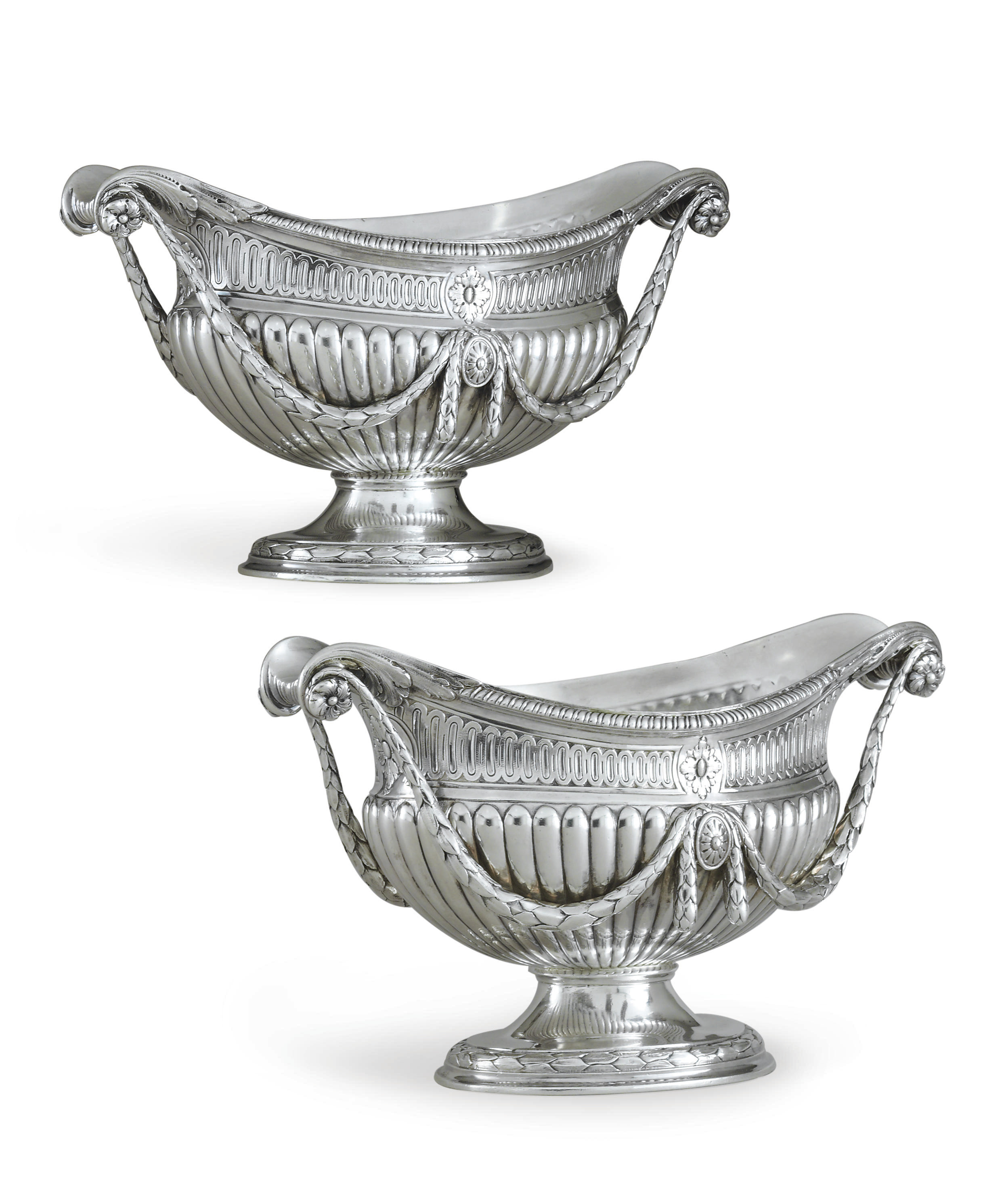 AN IMPORTANT PAIR OF GEORGE III SILVER SAUCEBOATS