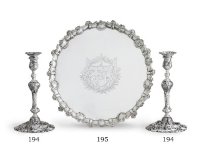 A PAIR OF REGENCY SILVER CANDL
